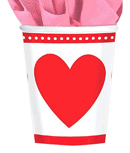 Amscan Sweet Love Valentine's Day Party Cups Tableware (8 Pack), 9 oz, Red/White