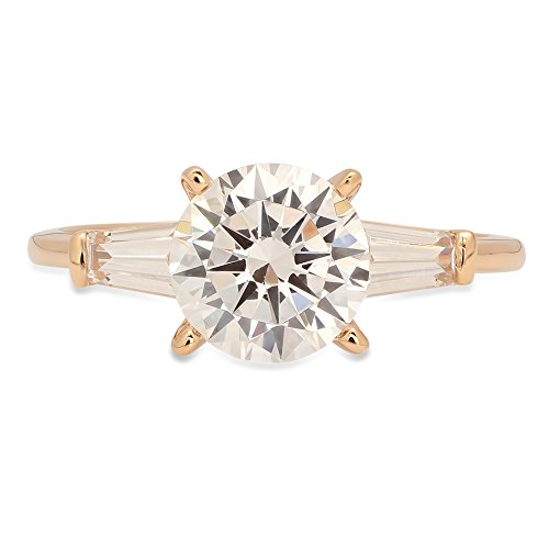 1.9ct Brilliant Round Baguette Cut Solitaire 3 Stone Statement Engagement Wedding Anniversary Promise Bridal Petite Ring Solid 14K Yellow Gold for Women, 7