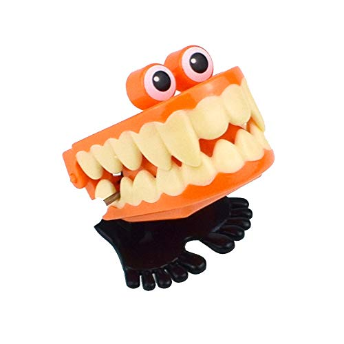 callm Halloween Clockwork Gift Wind Up Vampire Tooth Bounce Toy Good Props for Halloween, Haunted House, Party Decoration (Orange)