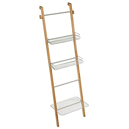 mDesign estantería escalera para ropa y toallas de baño - Estante madera con baldas de almacenamiento y toallero integrado - Color plateado/marrón: ...