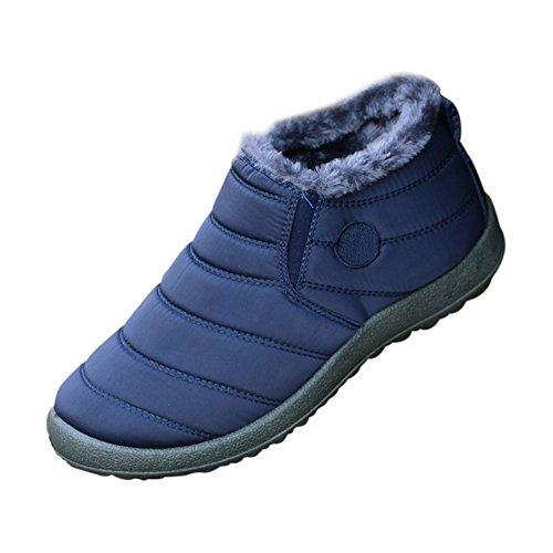 Piel Nieve Libre Deylaying Zapatos de Invierno Totalmente de Botas Tobillo Impermeable Azul Cálido Casuales Forrado Aire Al Mujeres w6UxXqv6B