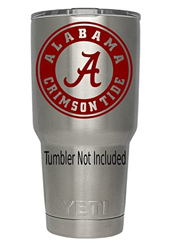 Alabama Crimson Tide (Red) Decals for Yeti cups - Car Sticker - Car Decal - Window Sticker for Tumbler, Cup, Car, Truck, Wall, Notebook, SUV, Computer, Laptop, Motorcycle, Helmet (Red)