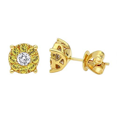 1 Carat Yellow Sapphires and White Diamond Stud Earrings 18K Gold (Yellow Gold) ()