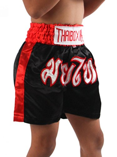 Zothai Kids Muay Thai Kickboxing Shorts MMA Fight Trunks Satin Black XS