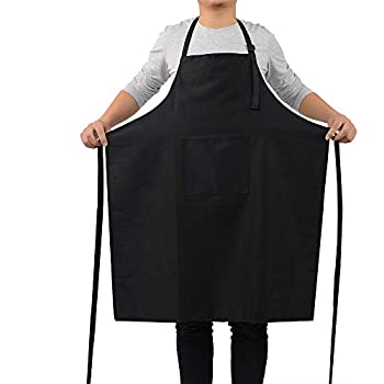 ROTANET Kitchen Bib Apron - Adjustable Cooking Aprons for Women Men Chef (Black)