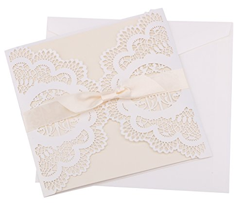 DriewWedding 20PCs Lace Wedding Party Invitation Cards, Flower Bird Pattern Hollow Greeting Invites Cards with Envelopes Seals for Marriage Engagement Birthday Bridal Shower Party Favors Supplies (Pattern Hollow Flower)