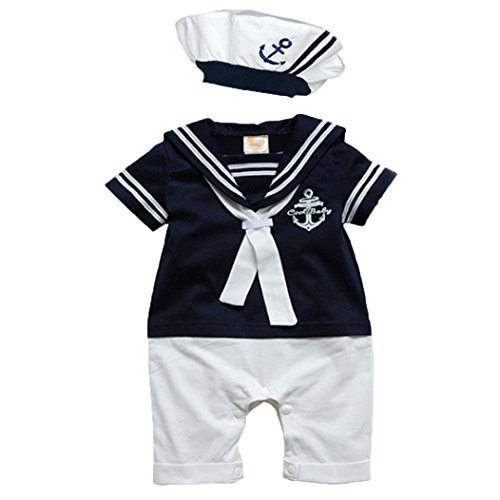 Hat Conjoined - TONSEE Baby Romper Short Sleeved Navy Conjoined Baby Sailor Suit + Hat (80, Dark Blue)