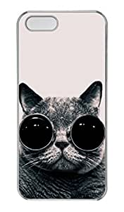 iPhone 4s Case, Personalized Protective Cat With Glasses Case for iPhone 4s PC Clear Phone Cover
