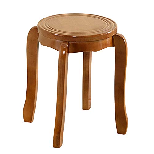 Stool European Household Coffee Table Stool Solid Wood Footstool Multifunctional Sofa Stool WEIYV (Color : Teak-Color, Size : 4245cm)