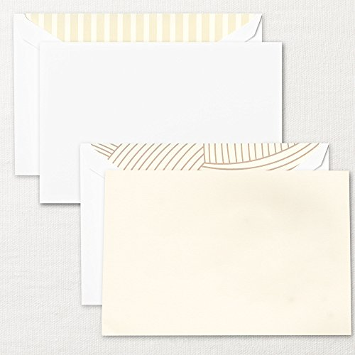 Ecru Pearl - Set of 4 Crane & Co. Write Now Ecru and Pearl White Card, With postage stamps