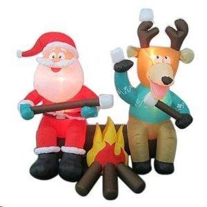 Reindeer Yard (Gemmy Santa and Reindeer Camping Roasting Marshmallows Christmas Airblown Inflatable Lighted Yard Decoration, 6.5-Feet)