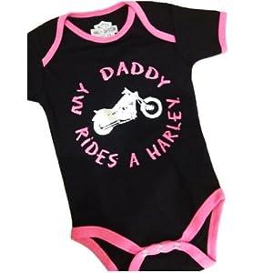 Harley Davidson Baby Girls My Daddy Rides A Harley Pink/Black Onesie, 18 Mon