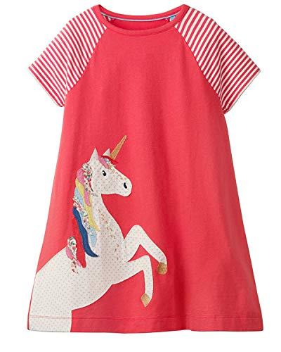 Little Girls Cotton Dress Short Sleeves Casual Summer Shirt Toddler Girls Summer Dresses Outfit 3t -