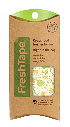 FreshTape Food Bag Re-Sealer, Yummy Design, Set of 18