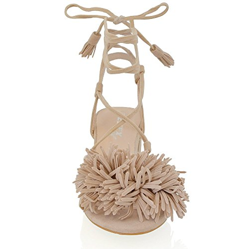 Essex Glam Gamuza Sintética Sandalias con tacón cuadrado bajo y flecos anudados Desnudo Gamuza Sintética