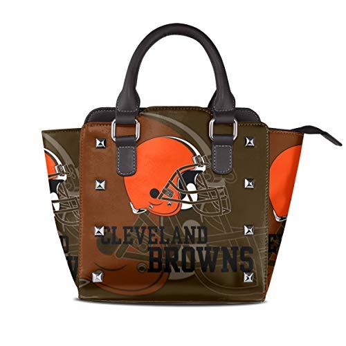 Cleveland Browns Nano - Aoskin Custom Cleveland Browns Women's Luxury Rivet Leather Handbag Shoulder Tote Bag,Women Shoulder Bags Satchel Purse