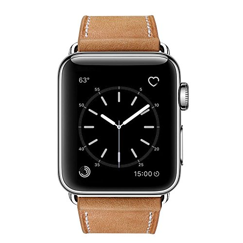 MARGE PLUS Compatible with Apple Watch Band 38mm 40mm, Genuine Leather Watch Strap Compatible with Apple Watch Series 4 (40mm) Series 3 Series 2 Series 1 (38mm) Sport and Edition, Brown