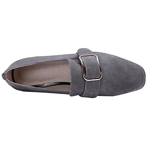 Rismart Glisser Branché Chunky Sur Boucle Gris Escarpins Suède Chaussures Talon Femme rfB4wr