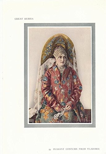 [Peasant costume of Vladimir Russia 1912 scarce antique color print] (1912 Fancy Dress Costumes)