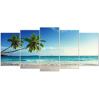 Wieco Art 5 Piece Large Modern Contemporary Ocean Sea Beach Giclee Canvas Prints Artwork Gallery Wrapped Seascape Pictures Paintings on Canvas Wall Art for Living Room Bedroom Home Decorations L