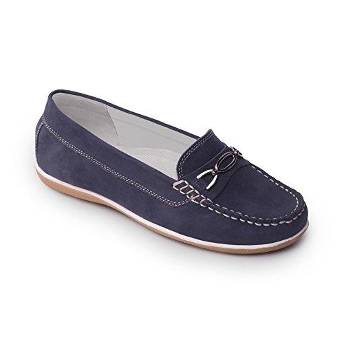 Padders cuero de las mujeres del zapato mocasín 'Brighton'   zapato mocasín se deslice   Anchura de E   talón de 30mm  Cuerno de zapato libre Azul N / Cord B-