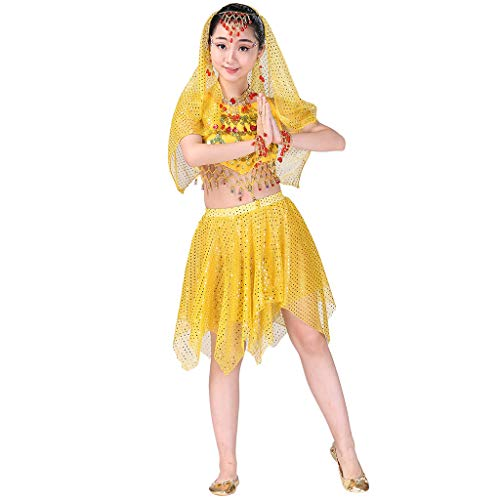 Kids Girls Belly Dance Halter Top Harem Dresses Costume Set Halloween Outfit with Head Veil Waist Chain and Bracelets Yellow