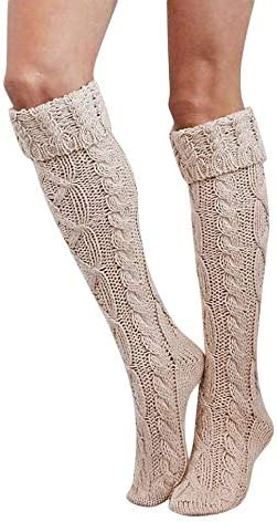 aihihe Womens Thigh High Socks Extra Long Over Knee High Leg Warmer Crochet Boot Cover Knitted High Socks Winter