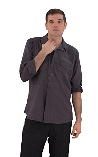 ASD Living Zanzibar Long Sleeve Dry Fit Server Waitstaff Shirt, Small, Charcoal by ASD Living