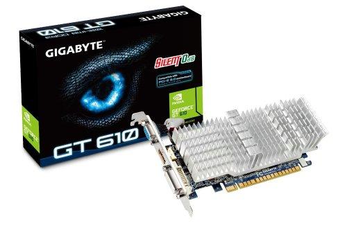 Gigabyte GeForce GT 610 1GB DDR3 PCI Express 2.0 DVI-I/D-SUB/HDMI 0dB Silent Low Profile Graphics Card GV-N610SL-1GI