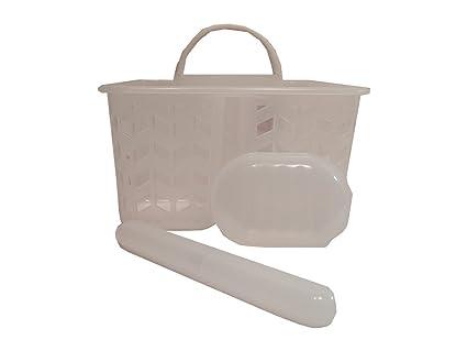 Simple por diseño 3 piezas baño ducha caddy bolsa con jabón y soportes para cepillo de