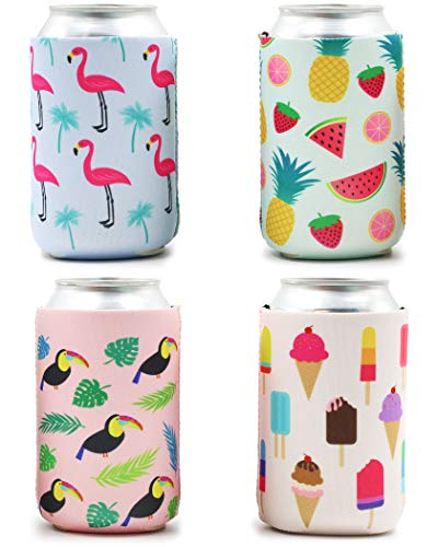 Blue Panda 12-Pack Summer Beer Can Sleeves (Flamingo, Tropical Fruit, Toucan, Ice Cream)]()