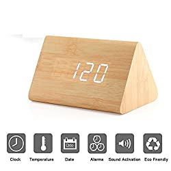 Bashley Modern Triangle Wood LED Wooden Alarm Digital Desk Clock with Date and Temperature Sound Control Desk Alarm Clock for Kids Bedroom, Home, Office-Wooden