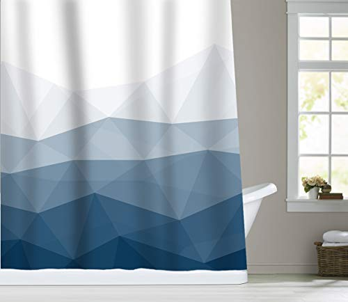 Sunlit Designer Shower Curtain,Popular Shower Curtain, Ombre Blue Fabric Shower Curtains for Bathroom Decor, Contemporary Bathroom Curtains - Better Material - Made of water-repellent fabrics, non-PVC. Added thickness for better draping in shower. Premium Quality - Rust-proof metal grommets and reinforced top-header to ensure durability. Sharp Printing - HD graphic designs printed with advanced color-fast technology. - shower-curtains, bathroom-linens, bathroom - 41yVxZnQlGL -