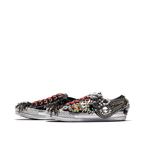 del Metal Decoración Board Bajos Hip de Black Zapatos Personalidad Street Rhinestone Hop Borla Las Superiores Remaches Mujeres g5xqPP