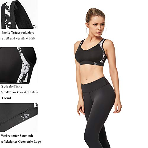 Yvette Damen Sport BH Starker Halt Große Größe Gekreuzt Rücken Gepolstert Fitness Lauf Joggen Yoga Bra