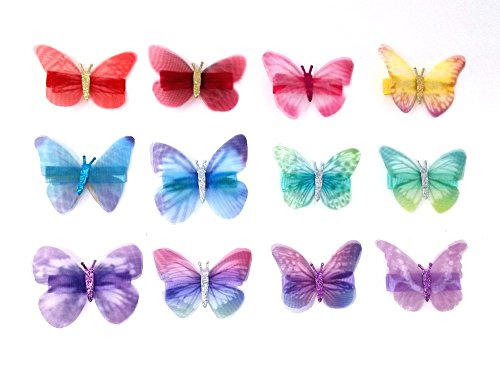 yueton 12pcs Colorful Organza Glitter Butterfly Barrettes Bobby Pin Metal Clip Hair Clips Bride Head-wear Edge Clip Clamps