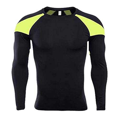 Forthery Men's Long Sleeve T-Shirt Cool Dry Compression Tops Sports Athletic Blouse(Yellow,X-Large) ()