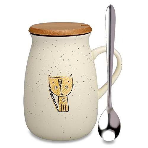 Cat Mug,Funny Ceramic Coffee mugs with Lid and Spoon, Cute Tea Cups Novelty Gift for Cat Lovers, Women, Girlfriends