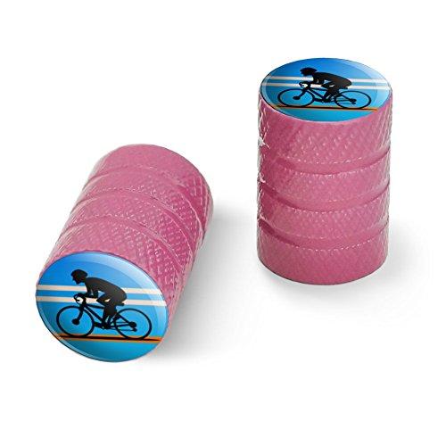 オートバイ自転車バイクタイヤリムホイールアルミバルブステムキャップ - ピンクロードバイクサイクリング自転車