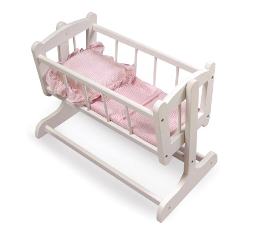 Badger Basket Heirloom Style Doll Cradle with Blanket & Pillow (fits American Girl dolls) (Wood Doll Bed)