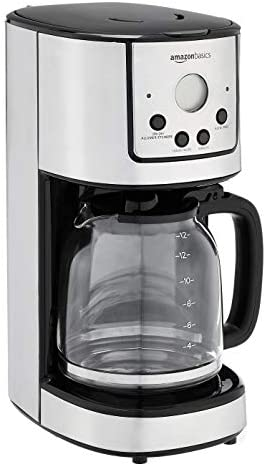Amazon Basics 12-Cup Digital Coffee Maker with Reusable Filter, Black and Stainless Steel