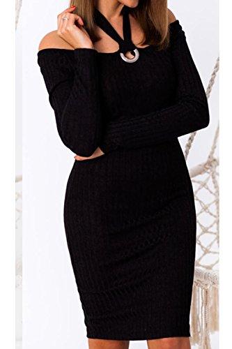 Off Shoulder Mujeres Bodycon Etelet De Caliente Plain Elegantes Hollow Las negro Halter Vestido Out Punto ItwTI
