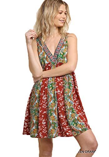 Umgee Womens Sleeveless Summer Dresses Plan B Fashions Collection (S, Rust Mix) -