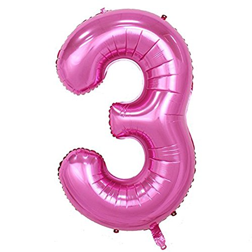 Tellpet Pink Number 3 Balloon, 40 Inch