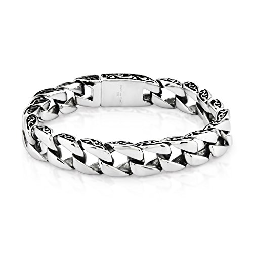 West Coast Jewelry | Crucible High Polished (11 mm) Two-Tone Stainless Steel Box Clasp Curb Chain Bracelet for Men - 8.5
