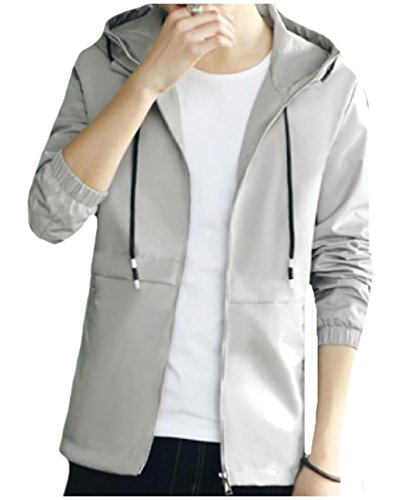 Original Howme Jacket Wild Front Zip Stretchy Hooded Men Fit Top Grey 6qfxwrE1q