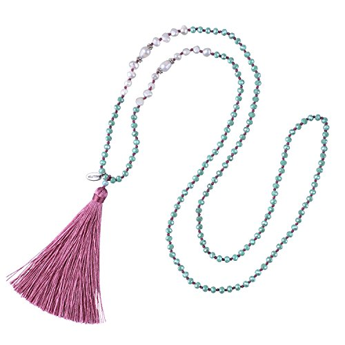 KELITCH Freshwater Pearls Crystal Beaded Necklace Handmade Chains Tassels Pendants New Charm Jewelry (Pink) ()