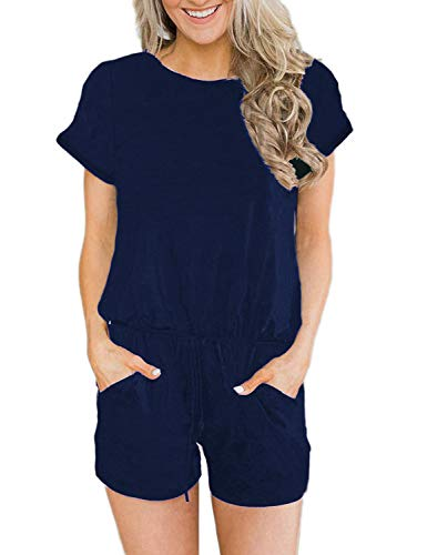 EasyMy Women's Summer Waist Lacing Jumpsuits Rompers Cross Back Ruched Short Loose Pants Navy