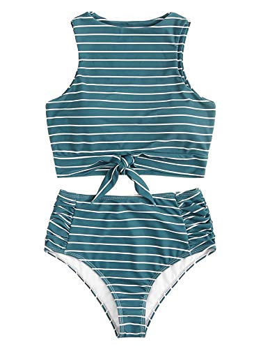 (SOLY HUX Women's Striped Knot Hem Top with Ruched High Waist Bikini Set Two Piece Swimsuits Blue M)