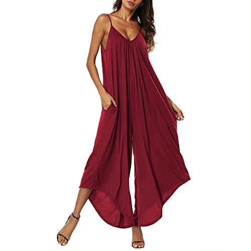 TOTOD Camisole Jumpsuit for Women Summer Sleeveless Strap Backless Loose Long Playsuits Elegant Rompers Red